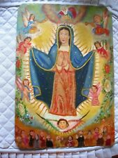BEAUTIFUL ORIGINAL VINTAGE RETABLO ON TIN WITH  IMAGE OF OUR LADY OF GUADALUPE