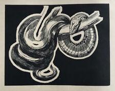 GRAVURE sur Bois Art Deco SERPENT BOA de PAUL JOUVE woodcut snake