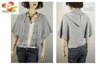MG Gray Wool Yarn Knit Hooded Button-Down Jacket Sweater Cardigan Shawl Top S L