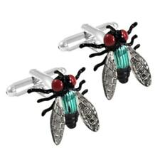 FLY CUFFLINKS Black Housefly Flying Insect Flies NEW w GIFT BAG Fathers Day Gift