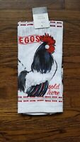 Farm House Kitchen Towels 1 pc White Red Rustic Rooster Farm Fresh Eggs country