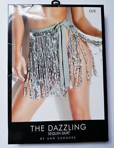 Ann Summers The Dazzling Sequin Skirt  Silver Sexy , beach Party New Boxed