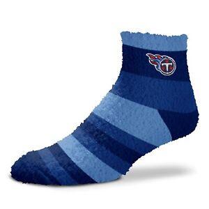 NEW! Tennessee Titans NFL Womens Rainbow Stripe Sleep Socks Fuzzy OSFM Blue