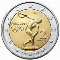 Greece, Greek coins 2004, 2 Euro Olympic games Athens 2004, used