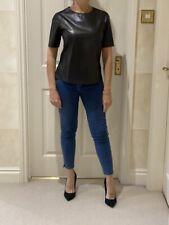 Vince Black Leather Short Sleeve Top/t Shirt/XS/UK 6-8
