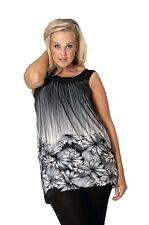 Womens Plus Size Top Ladies Shirt Floral Print Bubble Hem Sleeveless Nouvelle