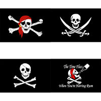 """Hot Skull And Crossbones Pirate Flag Jolly Roger Hanging With Grommets 5x3"""""""