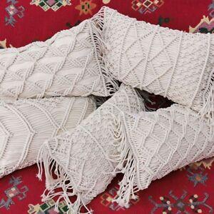 30X50cm Macrame Hand-Woven Cotton Thread Pillow Covers Sofa Cushion Cover  L3W9
