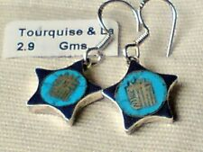 STERLING SILVER 14mm.TURQUOISE & LAPIS DROP EARRINGS in a STAR DESIGN £14.50 NWT