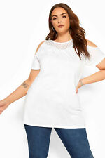 Yours Clothing Women's Plus Size White Cold Shoulder Top