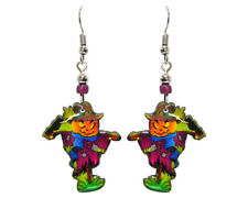 Mia Jewel Shop Handmade Spooky Halloween Evil Scarecrow Dangle Earrings Multi