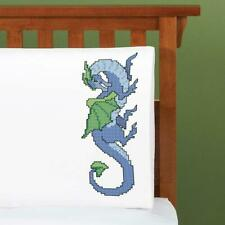 Herrschners® Dragon Dreams Pillowcase Pair Stamped Cross-Stitch