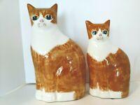 "8"" &10""  Orange Ginger & White Ceramic Cat Figurines  N.S. Gustin Co.  USA"
