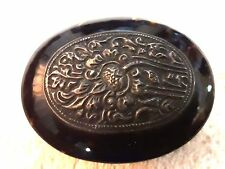 ANTIQUE rare silver plate Faux Tortoise Shell Jewel