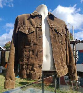 Rare VTG 70's Levis Corduroy Trucker Jacket Coat Brown Distressed Men's Small 36
