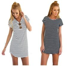 Ladies Black and White Stripey Long T-Shirt Dress Tunic Top Summer 8 10 12 14