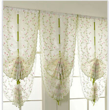 1Pcs Window Kitchen Bathroom Lifting Roll Up Rome Curtain Screen Embroidered_GRE