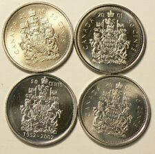 2000 2001 2002 2005 Canada 50 Cents Lot of 4 Uncirculated #2660