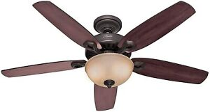 """HUNTER 53091 Deluxe Indoor Ceiling Fan LED Light Pull Chain 52 """" Inch Bronze"""