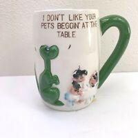 Kriess Dinosaur Caveman Cup Coffee Mug 20 oz Porcelain Relief Figures Vtg