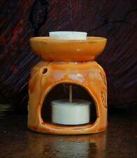RUSTIC CARAMEL BROWN LEAF Oil Burner / Melter HANDMADE POTTERY CANDLE HOLDER