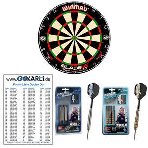 Winmau Blade 5 Dual Core Dart Board und Phil Taylor Steeldart Starter Pack