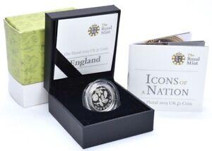 2013 Silver Proof £1 One Pound Coin England Rose & Oak Royal Mint BOX + COA
