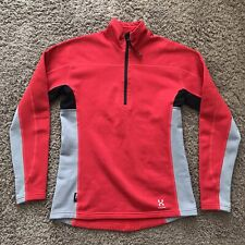 Haglofs Womens Medium EU 38 UK 12 Red 1/4 Zip Softshell Polartec Fleece Jacket