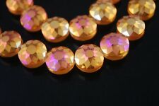5pcs 14mm Round Discoid Faceted Crystal Glass Dull Polish Loose Beads Rose Gold