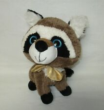 Brown, Black and White Plush Raccoon with Gold Bowtie Hug Fun