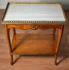 1920s French Louis XV satinwood white marble top applied Bronze side table