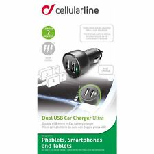CELLULAR LINE CARICABATTERIE AUTO USB 2 INGRESSI 3.1A MICROCBRUSBDUAL3A