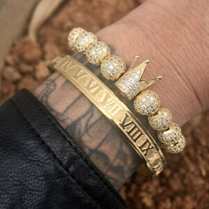 Luxury Men Crown Pave Cz Stainless Steel Beads Braided Cuff Gold Bracelet Bangle