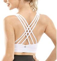 CRZ YOGA Women's Strappy Sports Yoga Bra, Padded Workout Sexy Back, White, 32DD