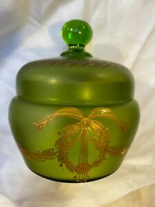 ANTIQUE EDWARDIAN GREEN SATIN GLASS ETCHED AND GILDED POWDER BOWL