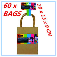60 X SMALL CRAFT DIY BROWN PAPER GIFT BAGS WITH HANDLE PARTY WRAP WRAPPING A