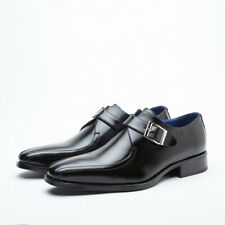 Men Leather Oxfords Buckle Casual Business Brogues Low Heel Formal Dress Shoes
