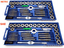 80PC Carbon Steel SAE & METRIC Tap and Die Set Adjustable Wrench T-Handle Case