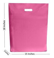 10 LARGE ROSA Bolsas de plástico/boutique regalo tienda Bolsa 15x18+7.6cm