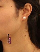 Boucles d`Oreilles Clous Perle de Culture Plate Argent 925 Blanche 9mm-10mm