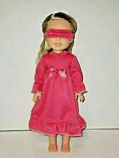 """Pink Nightgown And Sleep Mask Fits 14.5"""" Wellie Wisher American Girl Clothes"""