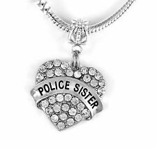Police Sister charm  fits european style bracelet (charm only)   Law Enforcement