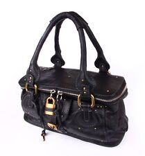 "CHLOE PADDINGTON ""VANITY"" SATCHEL BAG IN BLACK LEATHER"