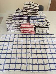 "12 x pcs Egyptian Cotton Check  Tea Towels, Kitchen Dish  extra large 20""x 30"""