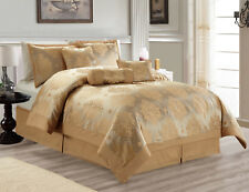 Hillsbro 7 Piece Heritage Gold Comforter Set Queen Size Pillows Shams
