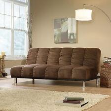 Microfiber Upholstered Brown Multi-Position Futon Home Living Room Furniture
