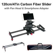 47in Carbon Fiber Camera Slider Track Tripod Mount w/ Pan Tilt Head & Carry Bag
