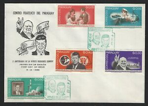 PARAGUAY SEPTEMBER 1965 CHURCHILL & KENNEDY FDC x 2 DIFFERENT