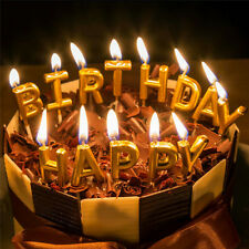 Happy Birthday Candles Cake Paraffin Decorations Letters Gold Plating Party