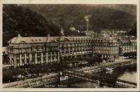 Bad Ems Postkarte 1930 gelaufen Blick auf das Kurhaus Fluß Brücke Uferstraße